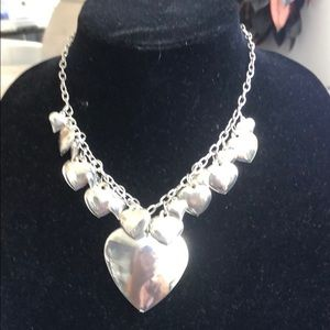 Heart heart heart necklace does not tarnish silver